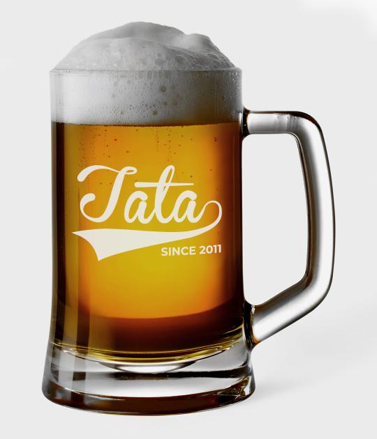 Kufel do piwa Tata since + Rok urodzenia dziecka
