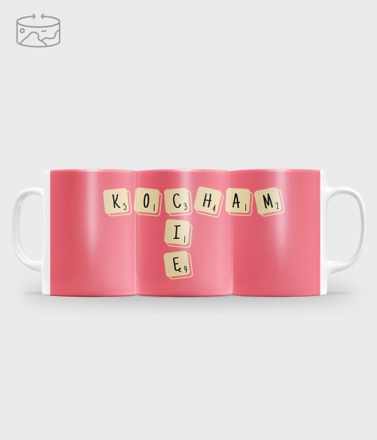 Kubek full print (panorama) Scrabble Kocham Cię