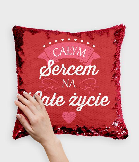 Poduszka z cekinami czerwono-biała Całym Sercem