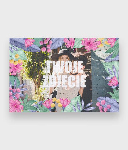 Puzzle Walentynkowe Kwiaty + Twoje zdjęcie