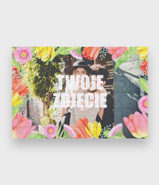Puzzle Walentynkowe Kwiaty 3 + Twoje zdjęcie