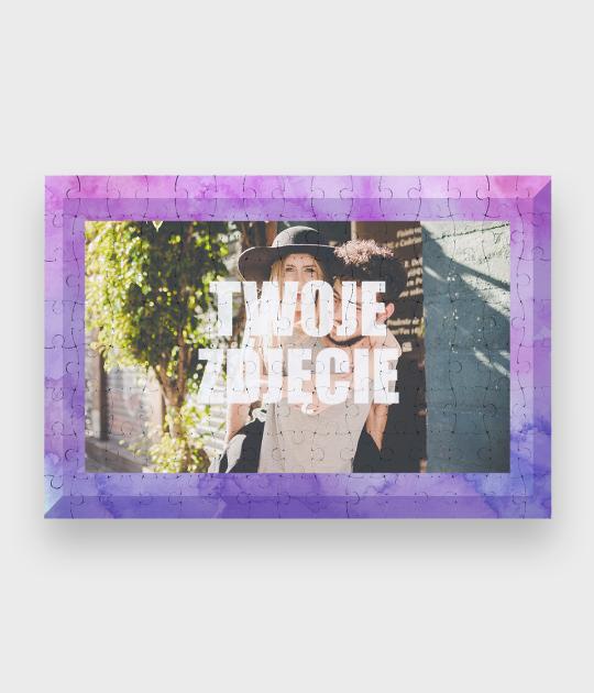 Puzzle Walentynkowa kolorowa ramka + Twoje zdjęcie