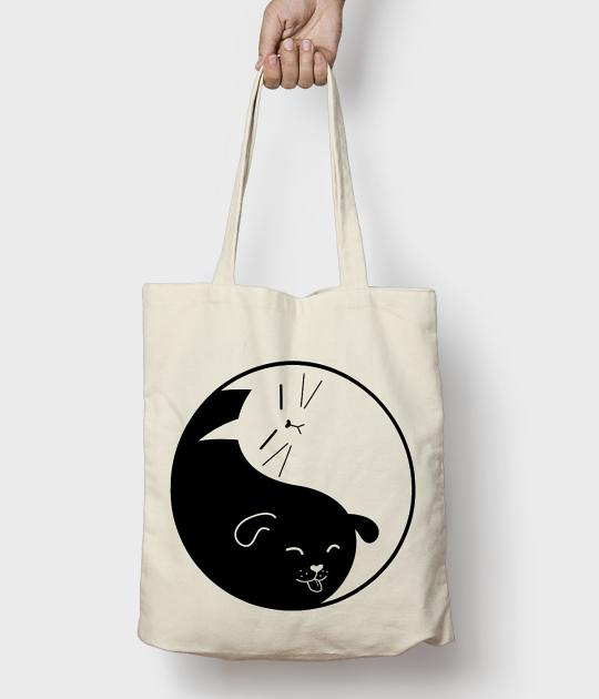 Torba bawełniana Yin Yang Kot i Pies