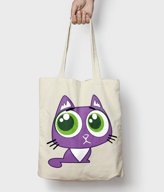 Torba bawełniana Fioletowy kociak bag
