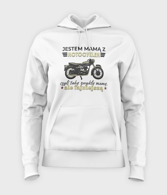 Bluza damska z kapturem Mama z motocyklem