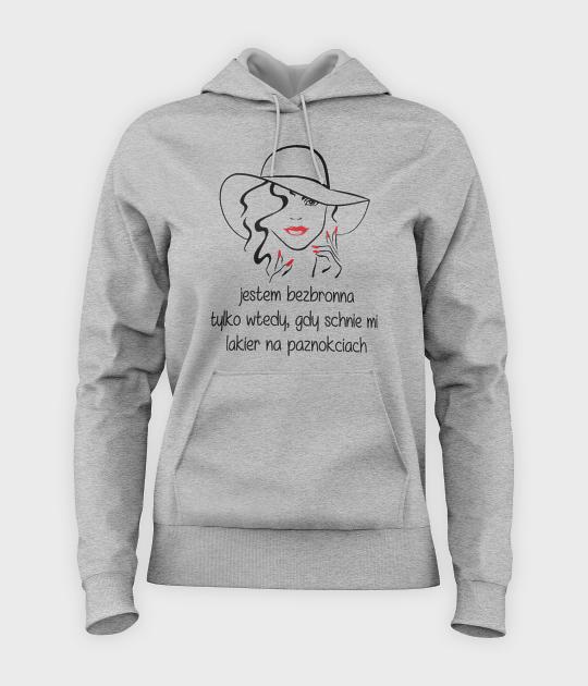 Bluza damska z kapturem Jestem bezbronna