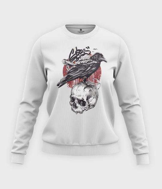 Bluza klasyczna damska Wrona z czaszką