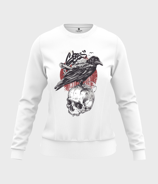 Bluza damska taliowana Wrona z czaszką