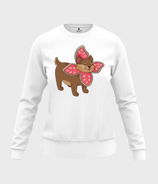 Bluza damska taliowana Uroczy Pies w przebraniu Demogorgona