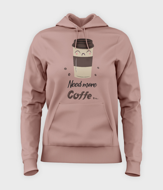 Bluza damska z kapturem Need more coffe