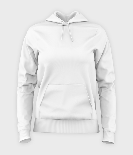 Damska bluza z kapturem (bez nadruku, gładka) - biała
