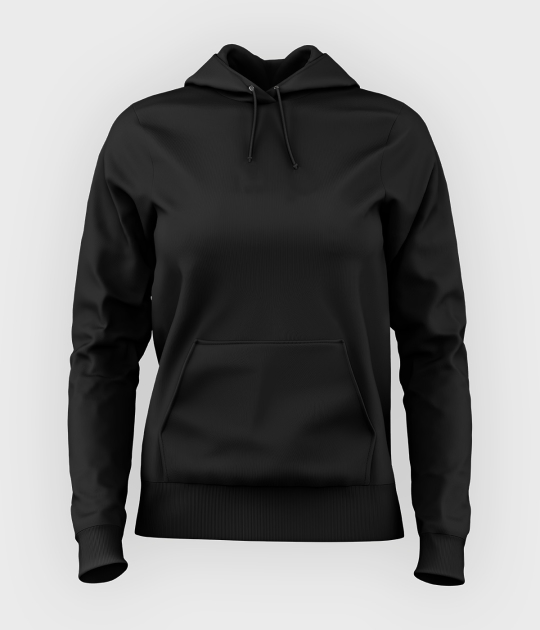 Damska bluza z kapturem (bez nadruku, gładka) - czarna