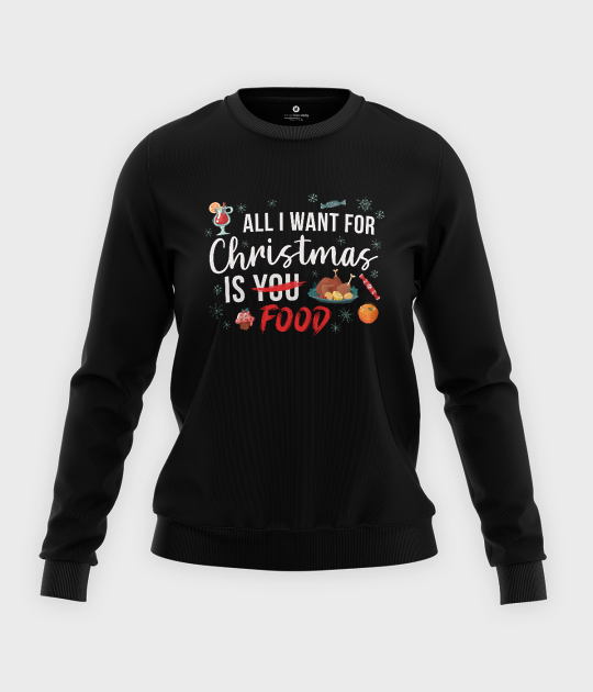 Bluza klasyczna damska All i want for christmas is food