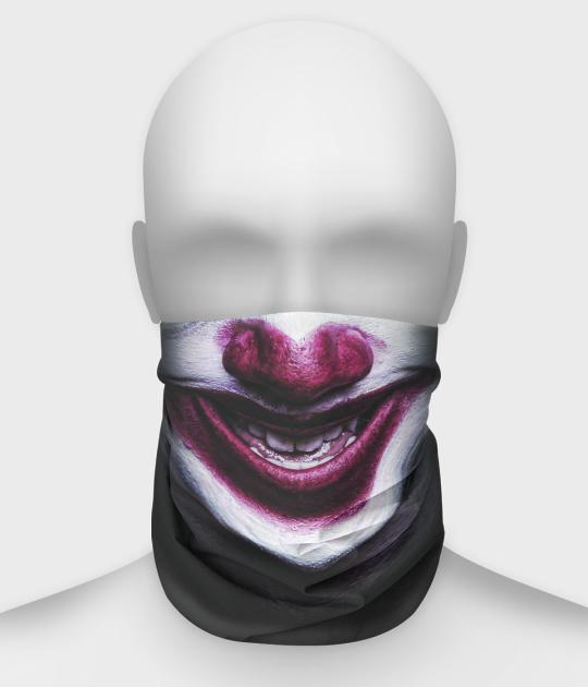 Komin na twarz fullprint z twarzą klauna