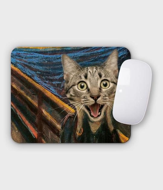 Podkładka pod mysz pozioma - mała Cat Scream Paint
