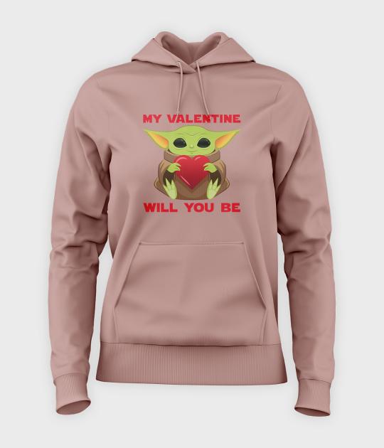 Bluza damska z kapturem Baby Yoda Valentines