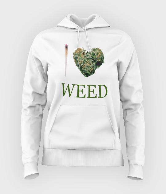 Bluza damska z kapturem I love weed