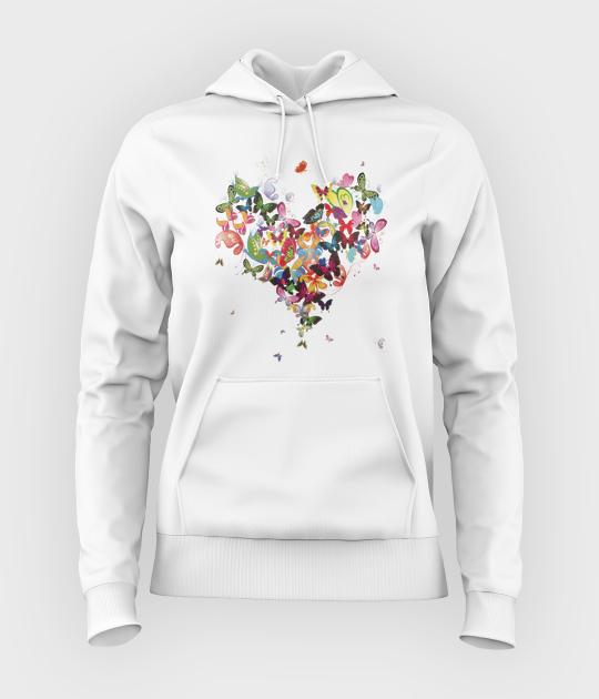 Bluza damska z kapturem Butterfly Heart