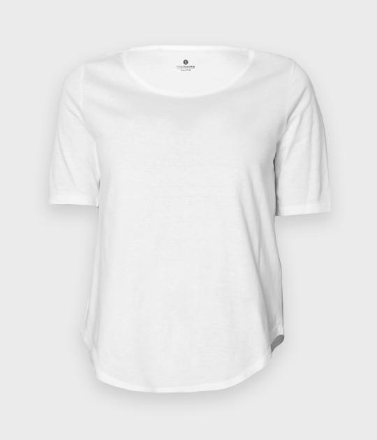 Damska koszulka trzy czwarte (bez nadruku, gładka) - biała