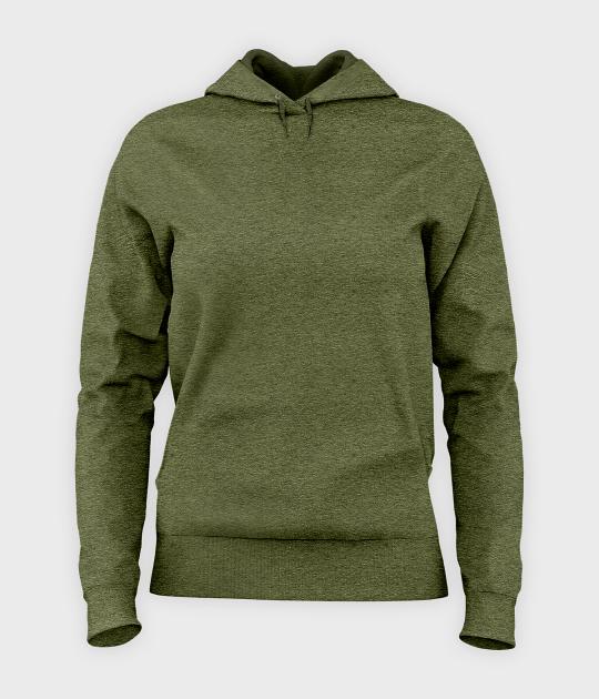 Damska bluza z kapturem taliowana (bez nadruku, gładka) - zielona
