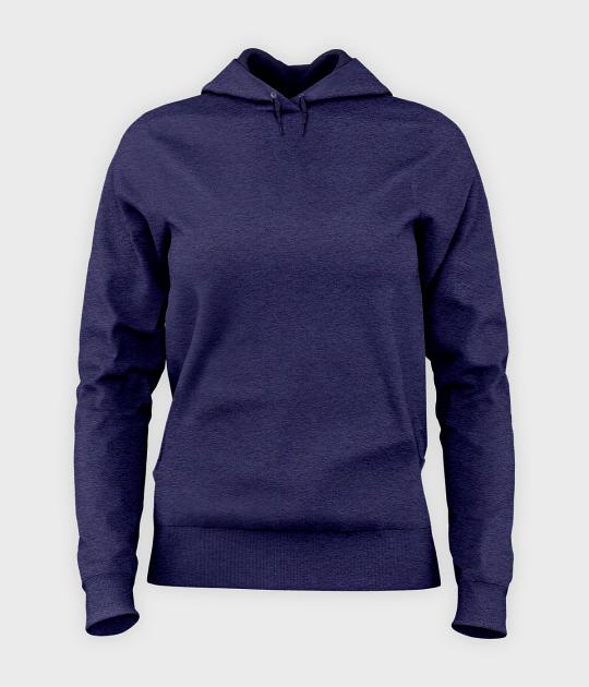 Bluza damska z kapturem taliowana Damska bluza z kapturem taliowana (bez nadruku, gładka) - niebieska