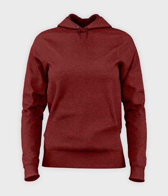Damska bluza z kapturem taliowana (bez nadruku, gładka) - czerwona